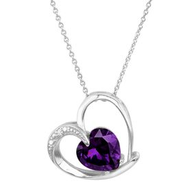 Heart Pendant with Purple Cubic Zirconia
