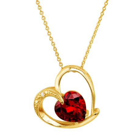 Heart Pendant with Red Cubic Zirconia