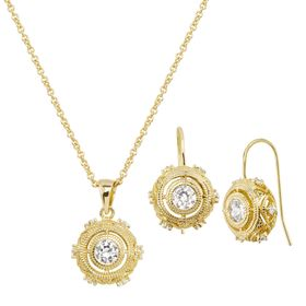 Boho Earring & Pendant Set with Cubic Zirconias
