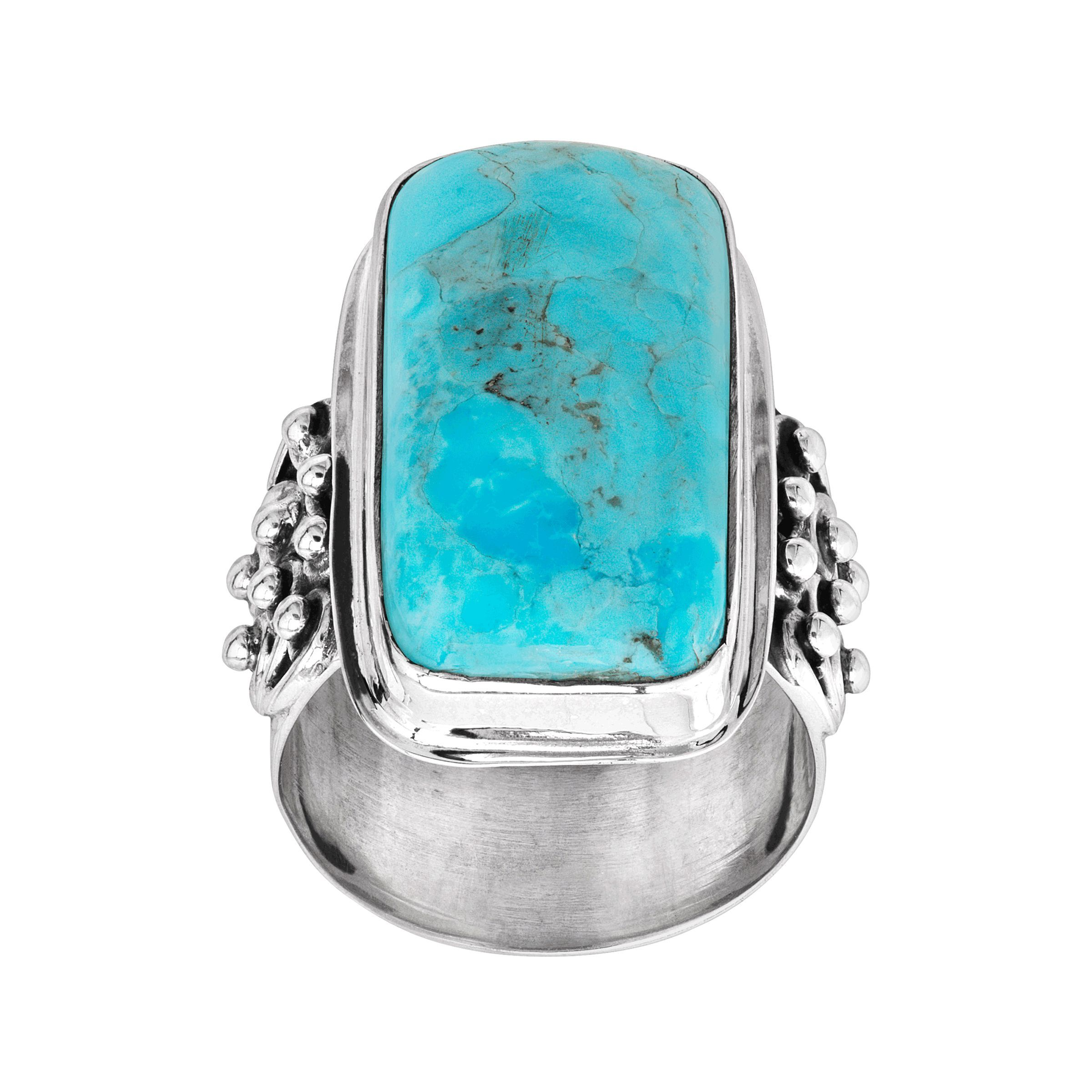 Sterling Silver statement ring Excellent Quality gem Natural Mohave Turquoise Ring