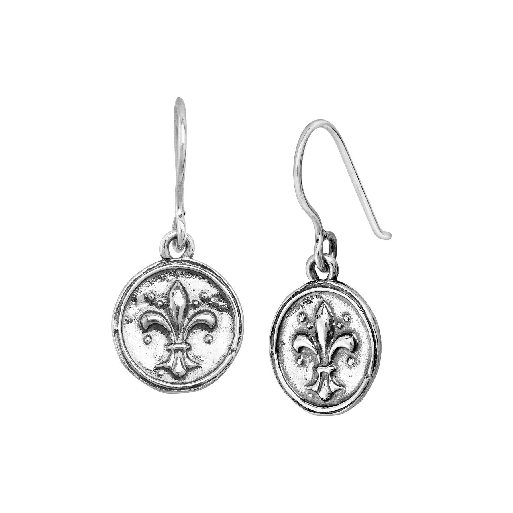 Fleur De Lis Disc Earrings In Sterling