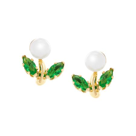 Girl's Pearl Stud Earrings with Green Glass