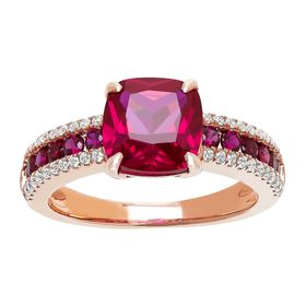 Ruby Ring with Cubic Zirconias