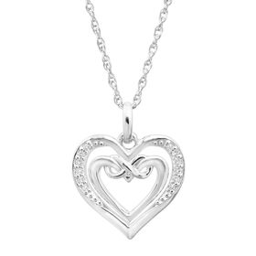 Open Double Heart Pendant with Diamonds