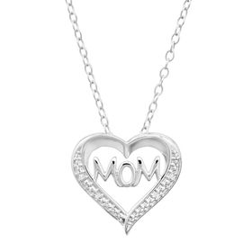 'Mom' Open Heart Pendant with Diamonds