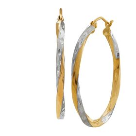 Two-Tone Twisted Hoop Earrings