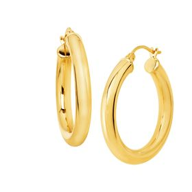 30 mm Round Tube Hoop Earrings