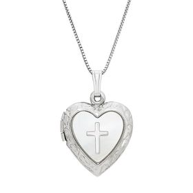 Mother-of-Pearl Heart with Cross Locket