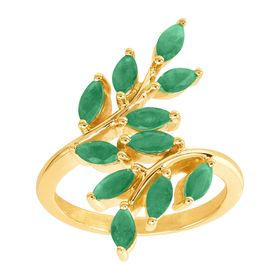 Emerald Leaf Bypass Ring
