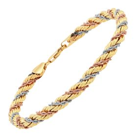 Three-Tone Rope Chain Bracelet