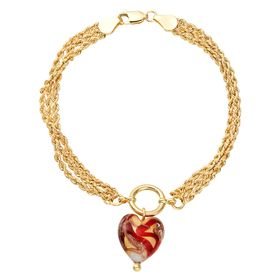 Murano Glass Heart Chain Bracelet