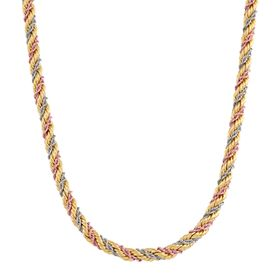 Three-Tone Rope Chain Necklace
