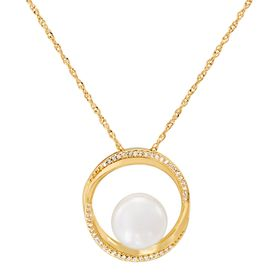 Pearl & 1/10 ct Diamond Halo Pendant