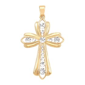 Embellished Two-Tone Cross Charm