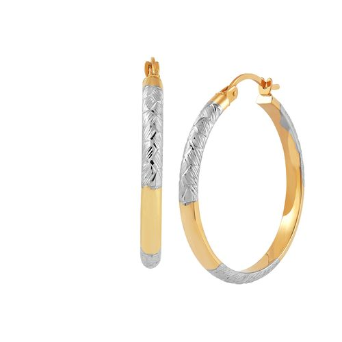 14kt Two Tone Gold Textured Tube Hinged Bangle
