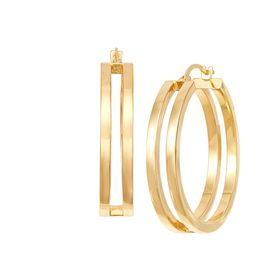 Double Square Tube Hoop Earrings
