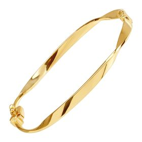 Twisted Hinged Ribbon Bangle, Yellow