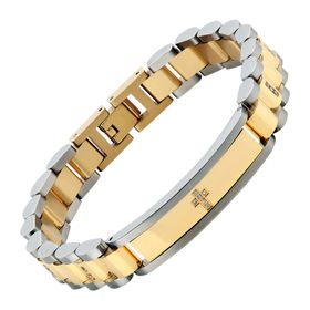 Men's Cross Link Bracelet with Cubic Zironias