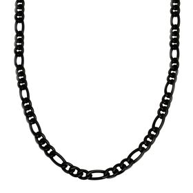 Men's Large Figaro Chain Necklace, Black