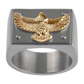 Men's Two-Tone Embossed Eagle Ring