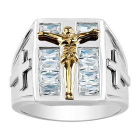Men's Crucifix Ring with Cubic Zirconia