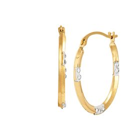 Oval Hoop Earrings with Crystals