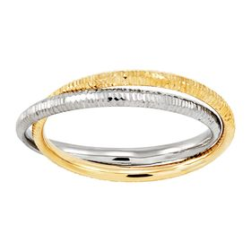 Two-Tone Interlocking Textured Band Rings