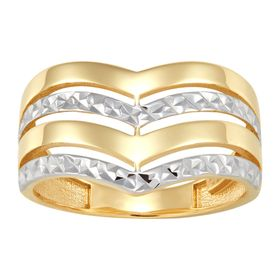 Two-Tone Quadruple Band Chevron Ring
