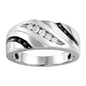 Men's 1/3 ct White & Black Diamond Ring