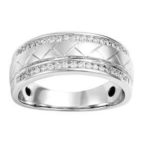 Men's 1/4 ct Diamond Etched Band Ring
