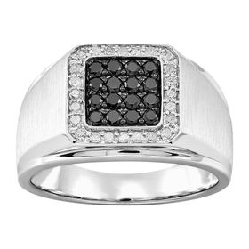 Men's 3/4 ct White & Black Diamond Ring