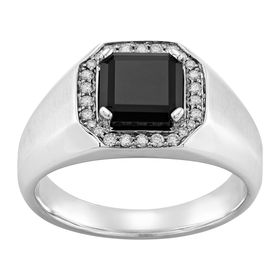 Men's Onyx & 1/5 ct White Diamond Ring