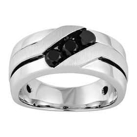 Men's 3/4 ct Black Diamond Ring