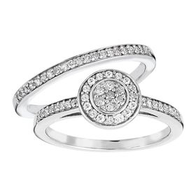 1/2 ct Diamond Halo Bridal Ring Set