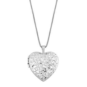 Crystal-Cut Heart Locket Pendant