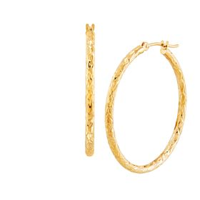 Crystal-Cut Tube Hoop Earrings
