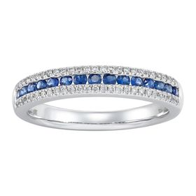 Sapphire & 1/6 ct Diamond Band Ring