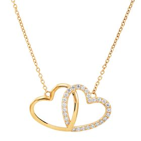 Interlocking Hearts Necklace with Cubic Zirconias