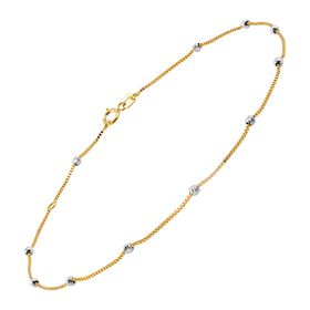Two-Tone Beaded Box Chain Anklet