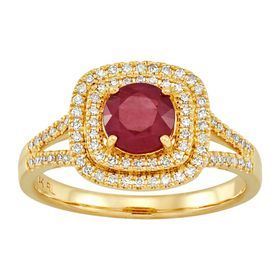 Ruby & 1/3 ct Diamond Halo Ring