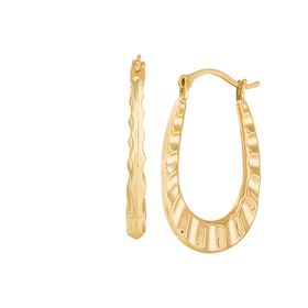 Ruffle Oval Hoop Earrings