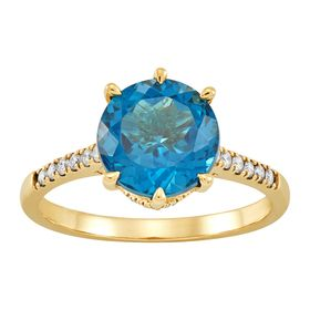 London Blue Topaz & 1/4 ct Diamond Ring