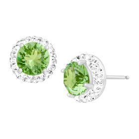 August Earrings with Green Swarovski Crystals