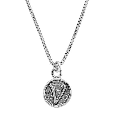 Stamped 'V' Initial Pendant
