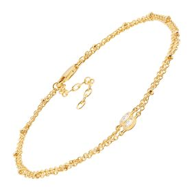 Double Beaded Chain Anklet with Cubic Zirconias