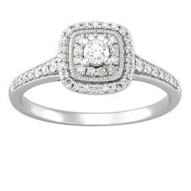 1/3 ct Diamond Cushion Halo Engagement Ring