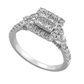 1 ct Diamond Square Composite Engagement Ring