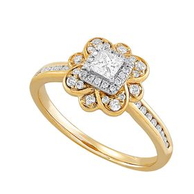 1/2 ct Diamond Flower Engagement Ring
