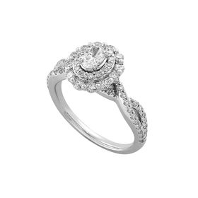 1 ct Diamond Oval Floral Halo Engagement Ring