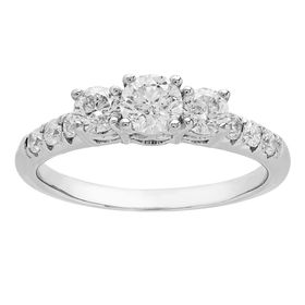 1 ct Diamond Trio Engagement Ring
